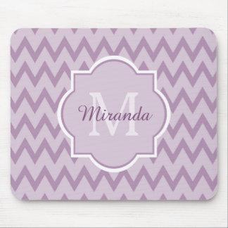 Trendy Purple Chevron Zigzag Name and Monogram Mouse Pad