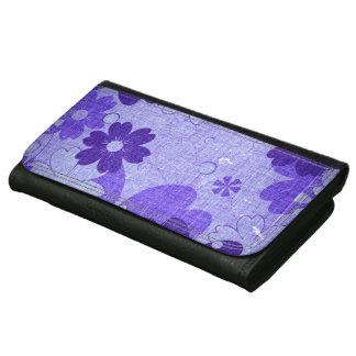 Trendy Purple Flower Vintage Leather Wallet For Women