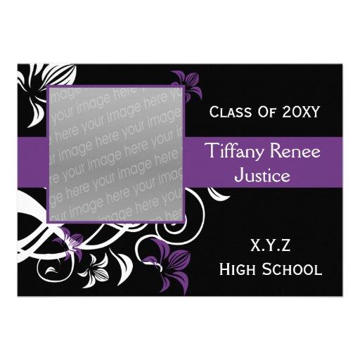 trendy purple Graduation photo Invitation