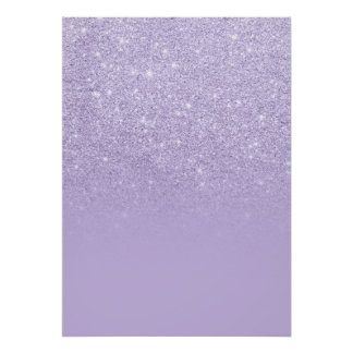 Trendy purple lavender glitter ombre color block poster
