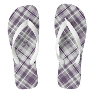 trendy purple lilac gray plaid pattern flip flops