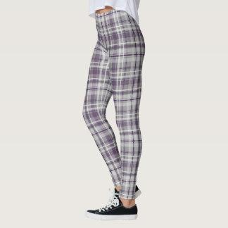 trendy purple lilac gray plaid pattern leggings