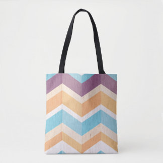 Trendy Purple Orange & Blue Chevron Pattern Tote Bag