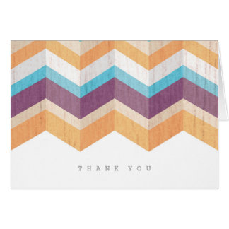 Trendy Purple Orange & Blue Chevron Thank You Card