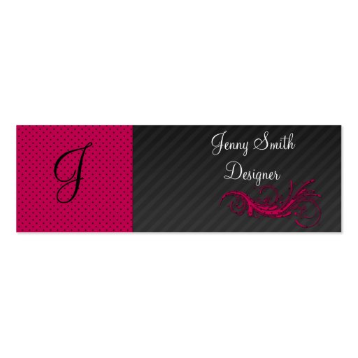 Trendy purple pink dots  black stripes abstract business card templates