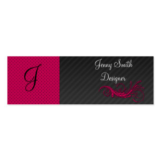 Trendy purple pink dots  black stripes abstract mini business card
