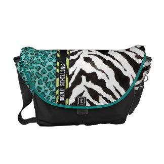 Trendy Purple Teal Black Leopard Zebra Pattern Messenger Bag