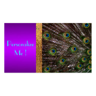 Trendy Purple Wedding Save the Date Peacock Modern Business Card