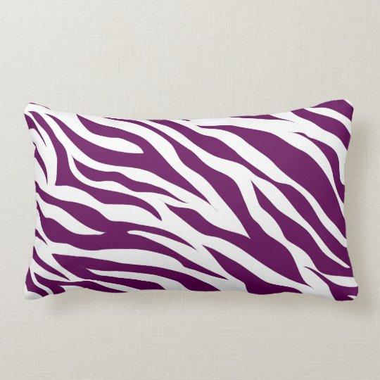 Trendy Purple White Zebra Stripe Wild Animal Print Lumbar Pillow