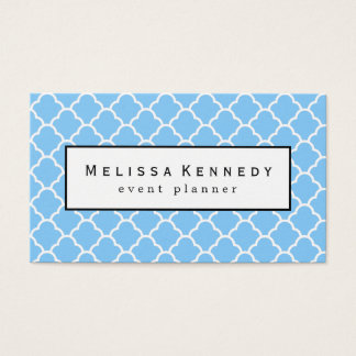 Trendy Quatrafoil Pattern Business Card Light Blue