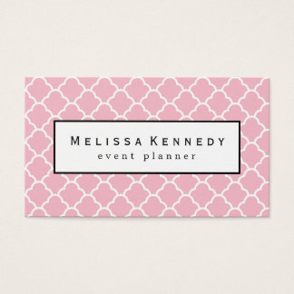 Trendy Quatrafoil Pattern Business Cards Pink