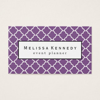 Trendy Quatrafoil Pattern Business Cards Purple