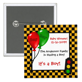 Trendy Race Car Checkers Boy Baby Shower 2 Inch Square Button