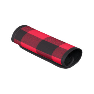 Trendy Red and Black Cozy Buffalo Plaid Luggage Handle Wrap