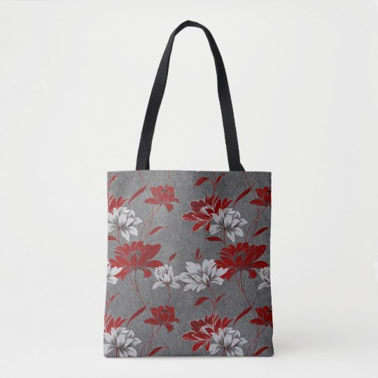 Trendy Red and Charcoal Grey Floral Print Tote Bag