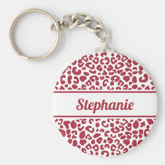 Trendy Red and White Leopard Print With Name Keychain