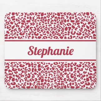 Trendy Red and White Leopard Print With Name Mouse Pad