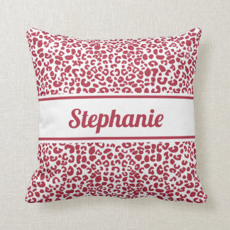 Trendy Red and White Leopard Print With Name Throw Pillow