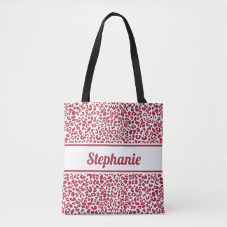 Trendy Red and White Leopard Print With Name Tote Bag