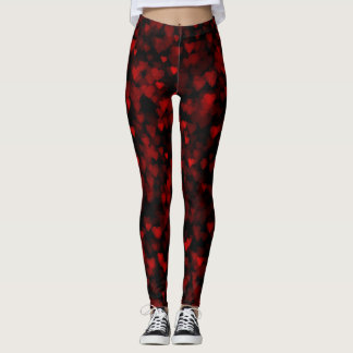 Trendy Red Bokeh Hearts Leggings