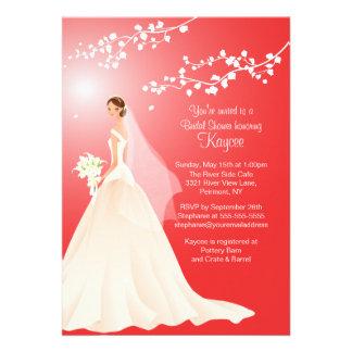 Trendy Red BRUNETTE Bride Bridal Shower Invite