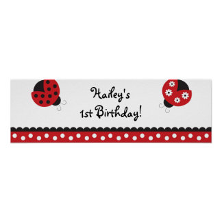 Trendy Red Ladybug Birthday Banner Sign Poster