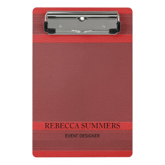 Trendy Red Leather Look Mini Clipboard