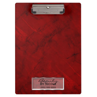 Trendy Red Marble Elegant Chic Glam Personalized Clipboard