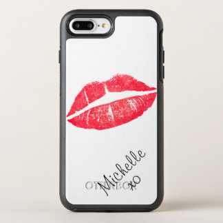 Trendy red modern lipstick love kiss lips custom OtterBox symmetry iPhone 8 plus/7 plus case