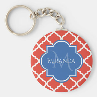 Trendy Red Quatrefoil Blue Monogram and Name Keychain