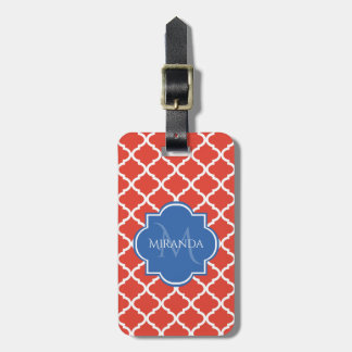 Trendy Red Quatrefoil Blue Monogram and Name Luggage Tag