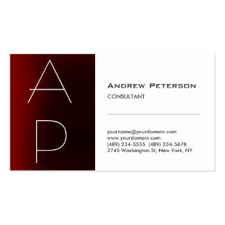 Trendy Red Stripe Monogram White Business Card