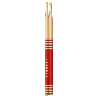 Trendy RED Stripes Custom Name A03 Drum Sticks
