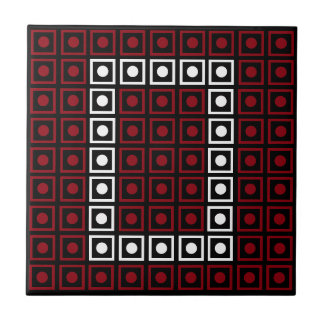 Trendy Red, White & Black 8-bit LED Pixel Number 0 Tile