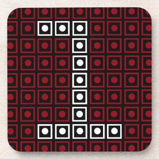 Trendy Red, White & Black 8-bit LED Pixel Number 1 Coaster