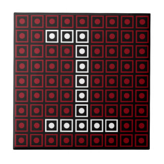 Trendy Red, White & Black 8-bit LED Pixel Number 1 Tile