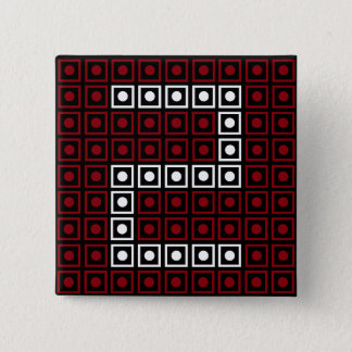 Trendy Red, White & Black 8-bit LED Pixel Number 2 2 Inch Square Button