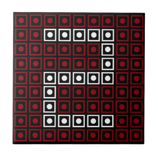 Trendy Red, White & Black 8-bit LED Pixel Number 2 Tile