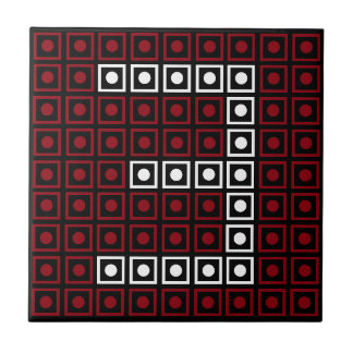 Trendy Red, White & Black 8-bit LED Pixel Number 3 Tile