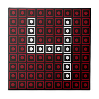 Trendy Red, White & Black 8-bit LED Pixel Number 4 Tile