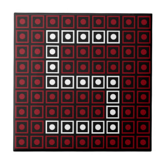 Trendy Red, White & Black 8-bit LED Pixel Number 5 Tile