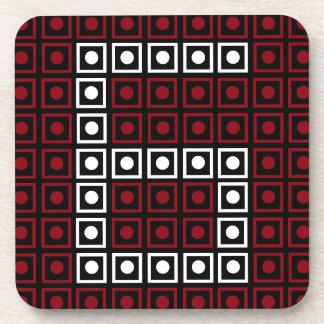 Trendy Red, White & Black 8-bit LED Pixel Number 6 Coaster