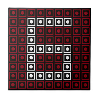 Trendy Red, White & Black 8-bit LED Pixel Number 6 Tile