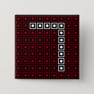 Trendy Red, White & Black 8-bit LED Pixel Number 7 2 Inch Square Button