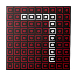 Trendy Red, White & Black 8-bit LED Pixel Number 7 Tile