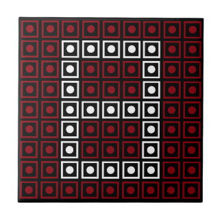 Trendy Red, White & Black 8-bit LED Pixel Number 8 Tile