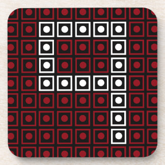 Trendy Red, White & Black 8-bit LED Pixel Number 9 Coaster