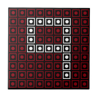 Trendy Red, White & Black 8-bit LED Pixel Number 9 Tile