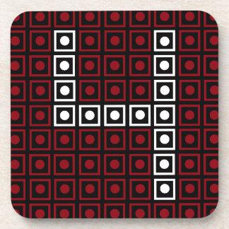 Trendy Red, White & Black 8-bit LED Pixel Number Coaster