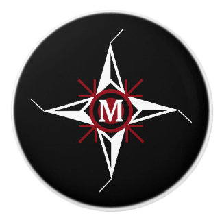 Trendy Red & White North Star Monogram on Black Ceramic Knob